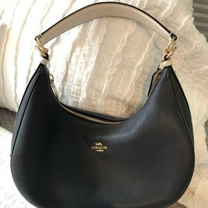 Authentic Coach navy and white purse